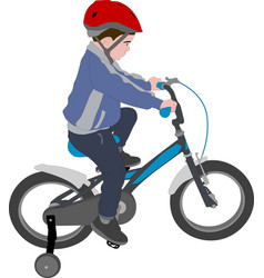 little boy riding bicycle color vector image