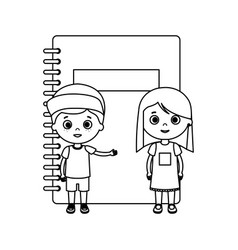 little kids students couple with notebook vector image