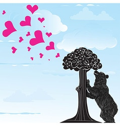 Love heart background with statue of Bear vector image