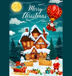 Merry christmas holiday poster with house in snow vector