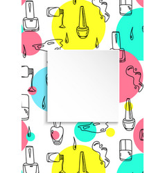 Nail banner with doodle manicure pattern hand vector