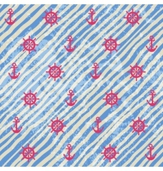 Nautical pattern on grunge strips background vector