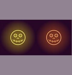 neon zombie head in yellow and orange color vector image