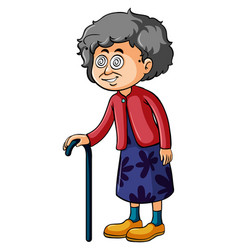Old woman with dizzy eyes vector