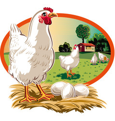 Oval frame with hen on nest with eggs vector