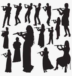 playing flute silhouettes vector image