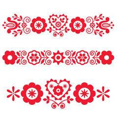 Polish floral folk art long vertical design vector
