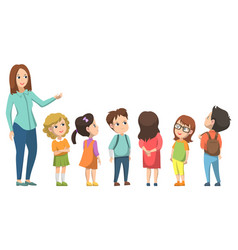 Pupil and teacher standing together school vector