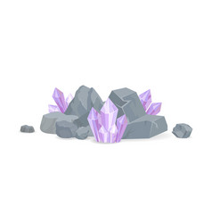 Purple crystals among stones realistic minerals vector