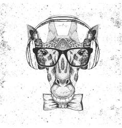 Retro hipster animal giraffe with headphones vector