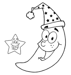 Royalty Free RF Clipart Happy Star And Moon Mascot vector image