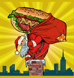 santa claus with a hot dog climbs the chimney vector image