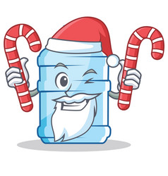 Santa with candy gallon character cartoon style vector