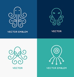 set abstract logo design templates vector image