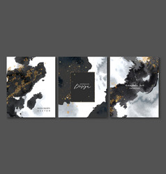 set creative postcards with black watercolor vector image