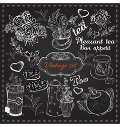 Set of tea collection vector image