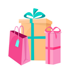 set paper ppackages shopping packet for parcels vector image