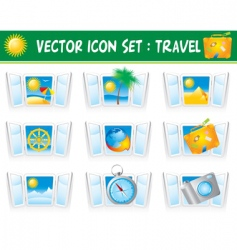 set travel icons vector image