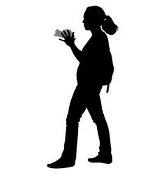 Silhouette of a girl with a camera vector
