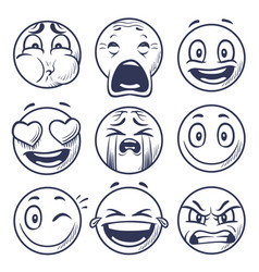 Sketch smiley smile expression icons emoticons vector