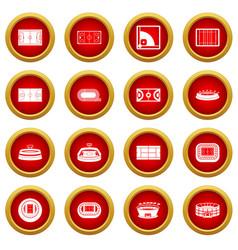 Sport stadium icon red circle set vector