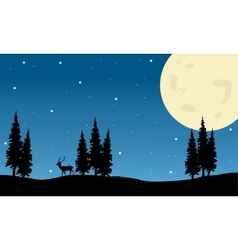 Spruce and deer scenery Christmas vector image