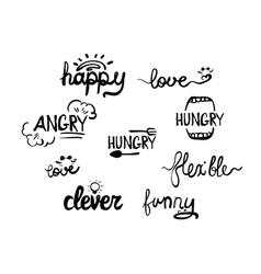 Style words phrases handwritten lettering vector