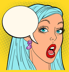 surprised pop art woman vector image