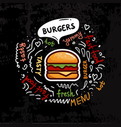 tasty fast food burgers menu vector image