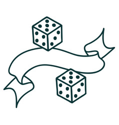 Tattoo with banner a dice vector