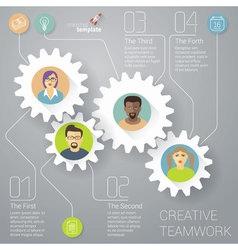 Teamwork working gear mock up vector