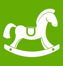 Toy horse icon green vector