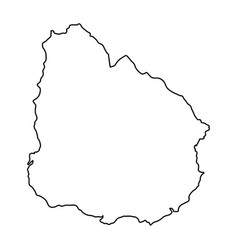 uruguay map of black contour curves of vector image