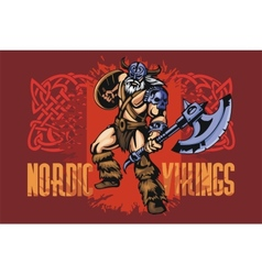 Viking warrior with big axe vector