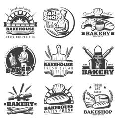 Vintage bakery emblems set vector