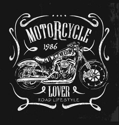 Vintage motorcycle hand drawn t-shirt vector