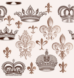 vintage pattern with crowns and fleur de lis vector image