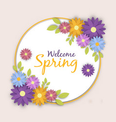 welcome spring greeting card flower label vector image