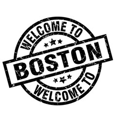 welcome to boston black stamp vector image vector image