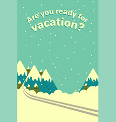 winter mountains background with ski track vector image