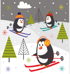 Winter poster with penguins skiing vector