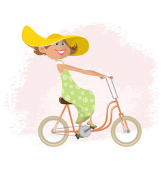woman on a bicycle vector image