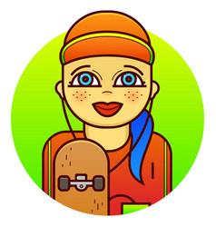 Woman skateboarder vector