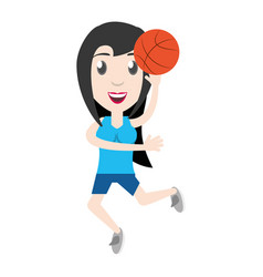 Women playing basketball cartoon vector