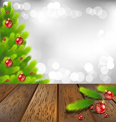 wooden floor with christmas tree on bokeh vector image