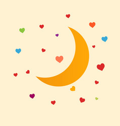 Yellow moon with colored hearts white background vector