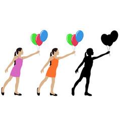 Young girl silhouette giving air balloons vector