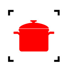 cooking pan sign red icon inside black vector image