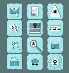Hacker attack computer virus set of icons vector