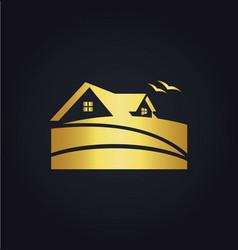 home beach resort icon gold logo vector image vector image